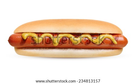 Hot dog grill with mustard isolated on white background. - stock photo