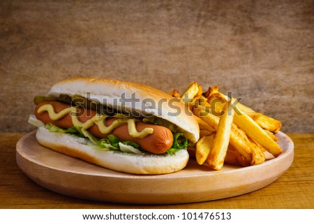 hot dog with french fries fast food menu - stock photo