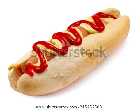 Hot dog with ketchup and mustard - stock photo