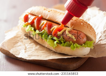 hot dog with ketchup mustard and lettuce - stock photo