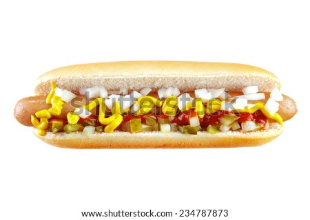 Hot dog with ketchup , mustard , cucumber and chopped onion , isolated on white , front view - stock photo