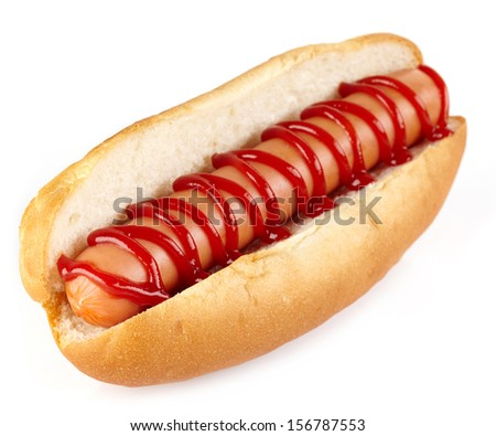 Hot dog with ketchup on white background - stock photo