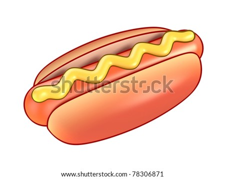 hot dog with mustard 3d illustration isolated on the white - stock photo