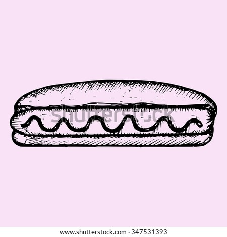 Hot Dog with mustard, doodle style, sketch illustration, hand drawn, raster - stock photo