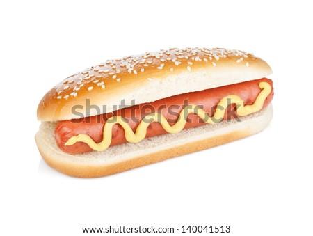 Hot dog with mustard. Isolated on white background - stock photo