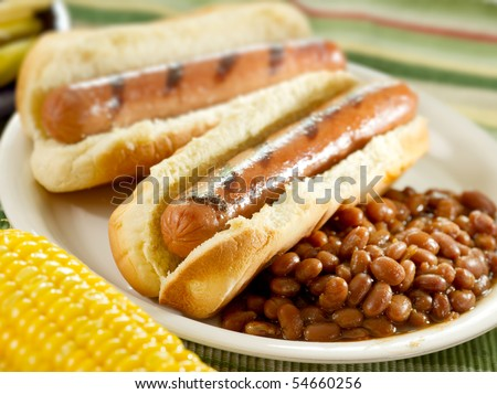 hot dogs and baked beans - stock photo