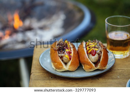 Hot dogs by the fire - stock photo