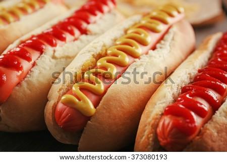 Hot dogs closeup - stock photo
