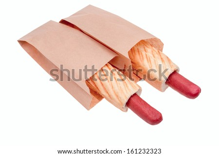 hot dogs in a paper bag - stock photo