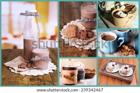 Hot drinks collage - stock photo