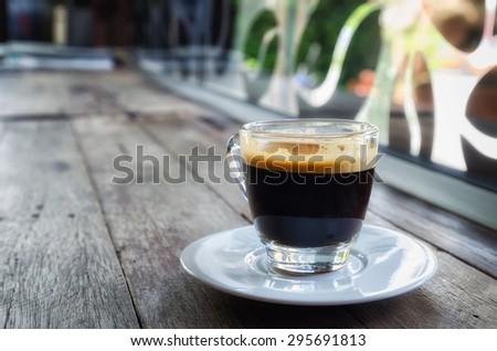 hot espresso coffee - stock photo