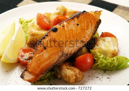 Hot fish dish - stock photo