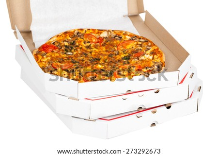 hot fresh pizza in open box isolated on a white background - stock photo