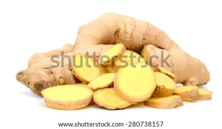 hot ginger sliced on white background  - stock photo