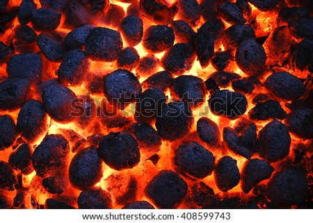 Hot Glowing Charcoal Briquettes Texture And Background, Top View, Close Up - stock photo