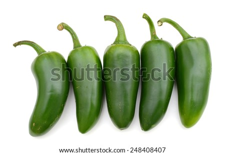 hot green peppers (jalapeno) - stock photo