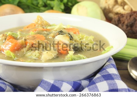 hot hearty cabbage stew with vegetables - stock photo