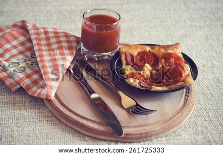 Hot Homemade Pepperoni Pizza. Toned picture  - stock photo