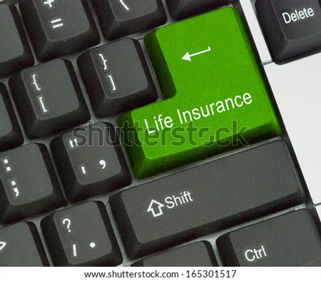 Hot key for life  insurance - stock photo