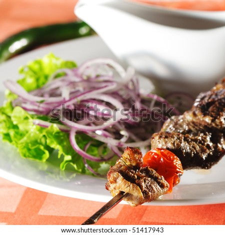 Hot Meat Dish - Grilled Lamb with Onions Salad and Sauce - stock photo