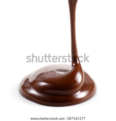 Hot melted chocolate isolated on white background - stock photo