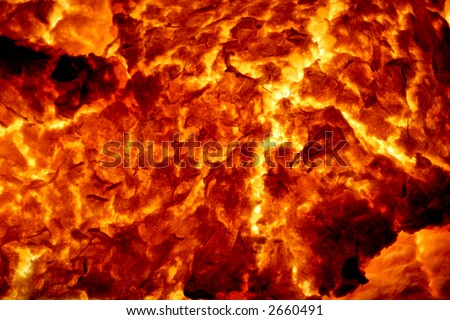 Hot Molten Lava 5. The cracking crust of a hot flow of magma. - stock photo