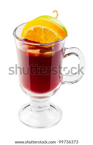 hot mulled wine, punch, with slice of orange and apple in glass isolated - stock photo