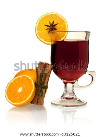 Hot mulled wine with oranges and cinnamon. Isolated on white - stock photo