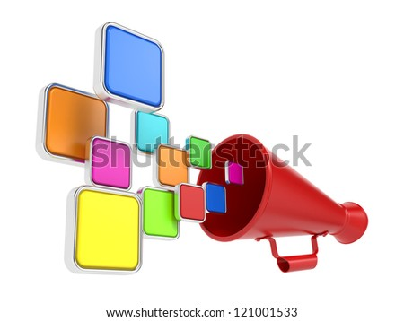 Hot News Concept. Cloud of Color Icons Taking off from the Megaphone. - stock photo