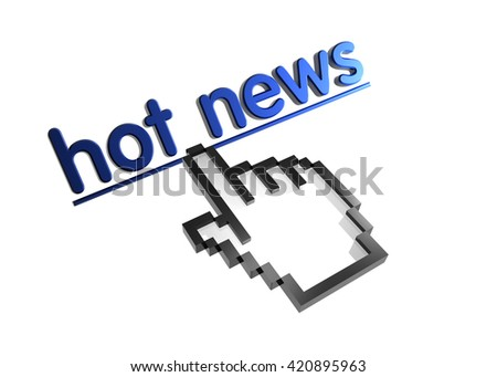 hot news. 3d rendered inscription. Link and finger, pointer. Isolated on white - stock photo