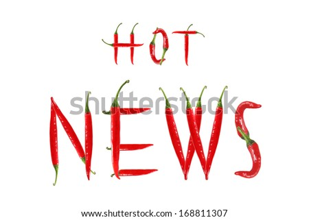 HOT NEWS text composed of chili peppers. Isolated on white background - stock photo