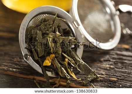 Hot Organic Healthy Green Tea with antioxidants - stock photo