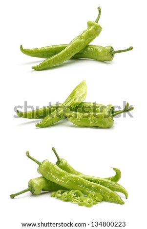 Hot Pepper on white background - stock photo