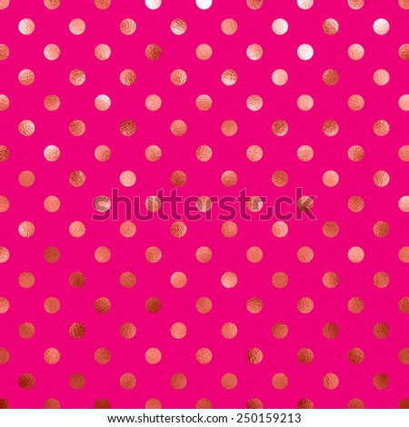 Hot Pink Peach Metallic Foil Polka Dot Pattern Swiss Dots Texture Paper Color Background - stock photo