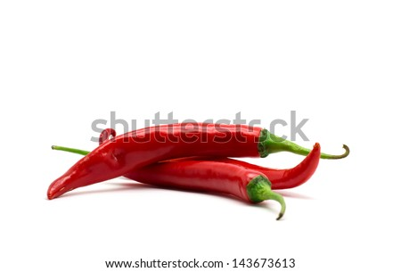 Hot red chili or chilli pepper isolated on white background. - stock photo