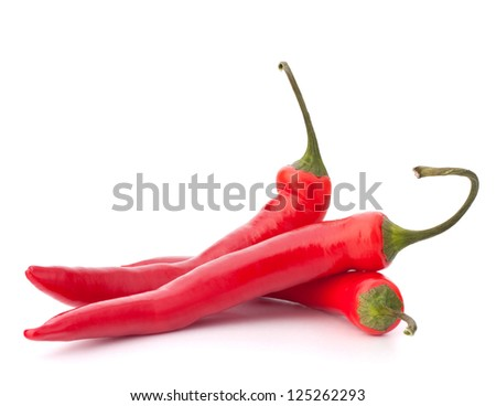 Hot red chili or chilli pepper isolated on white background cutout - stock photo