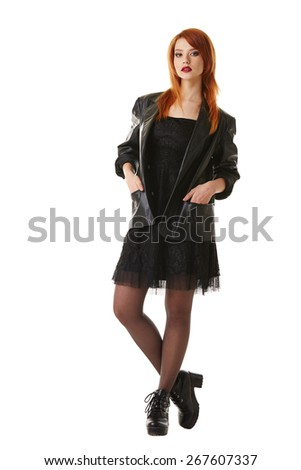 Hot red-haired beauty posing in gothic outfit - stock photo