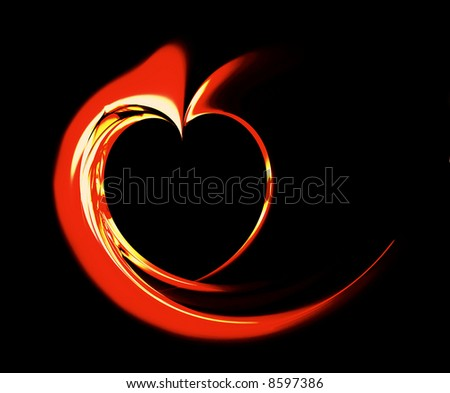 Hot red heart,  computer-generated, - stock photo