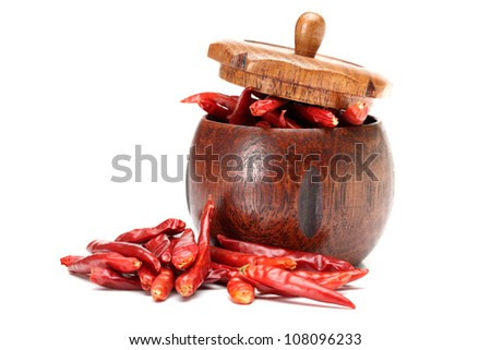hot red pepper isolation on white - stock photo