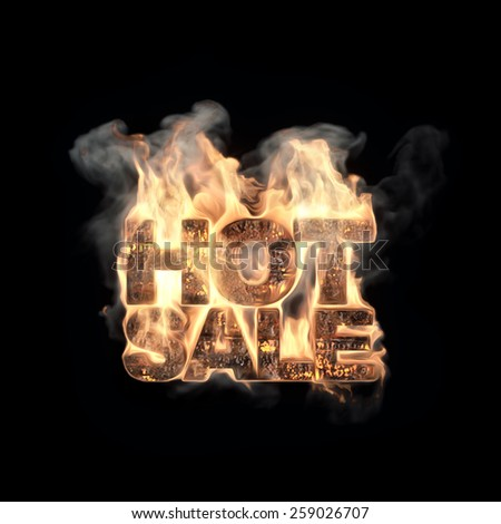 Hot Sale, word on fire. - stock photo