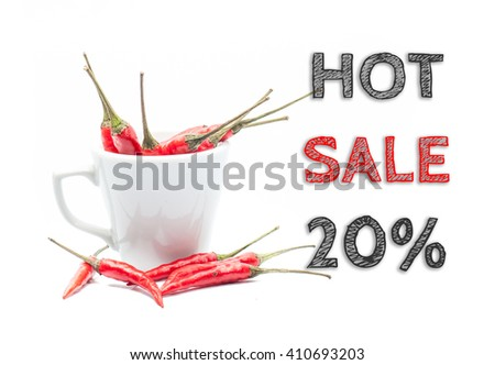 Hot Sale 20% words written on white background with cup of chillies - stock photo