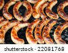 hot sausages on the BBQ - stock photo