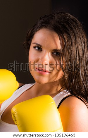 Hot sporty female with boxing gloves - stock photo