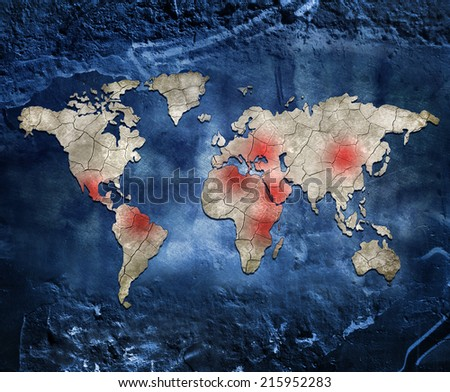 Hot spots of the world - stock photo