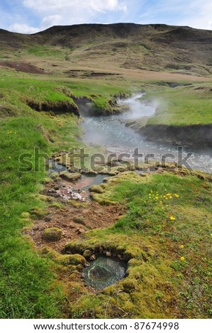 Hot spring area, Iceland - stock photo