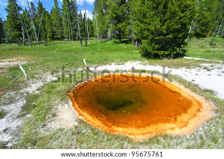 Hot spring in the Upper Geyser Basin of Yellowstone National Park - stock photo
