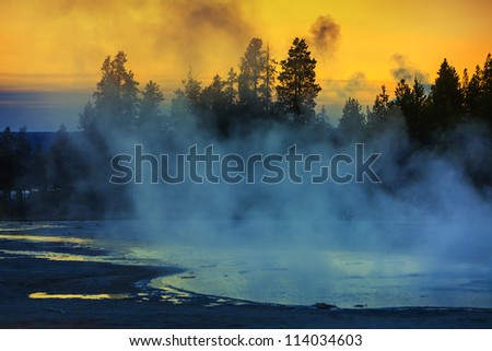 hot spring in Yellowstone National Park - stock photo