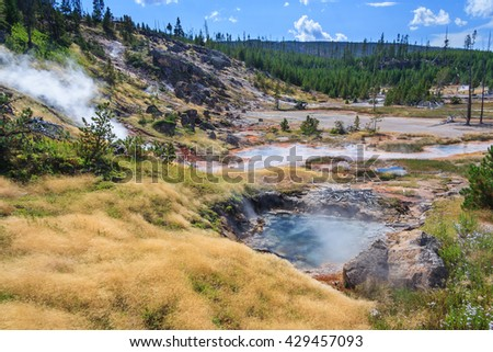 Hot Springs and Geysers at Yellowstone National Park, Wyoming, USA - stock photo