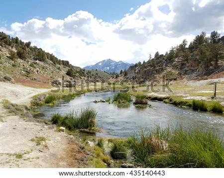Hot springs at Mammoth Lakes, California - stock photo