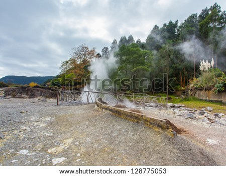 Hot springs at Sao Miguel Island on the bank of lake Lagoa das Furnas. - stock photo